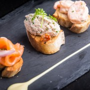 Salmon tuna and prawn bruschetta